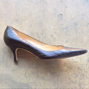 Alexandra Neel Embossed Brown Leather Pumps